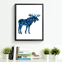 Moose Art, Navy Art, Blue Wall Print, Moose Print, Geometric Animal Art, Moose Wall Prints, Blue Print Art, Moose Artwork *180*