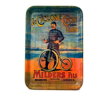 Vintage Le Cyclone Cycle Sans Chaine Milders Fils Tray Bamboo Serving Tray French Antique Bicycle Decor