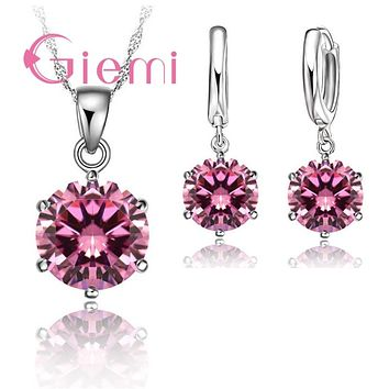 Giemi Cheapeat 925 Sterling Silver Necklace Women Holiday Gift Wedding Jewelry 6 Claw Cubic Zircon Pendant Engagement
