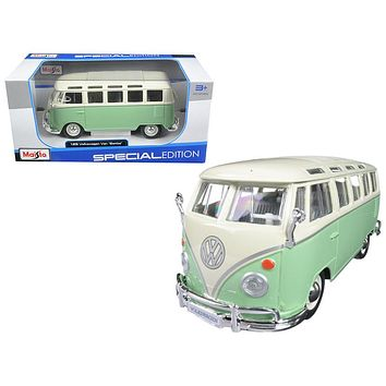 Volkswagen Van Samba Bus Green 1/25 Diecast Model Car by Maisto