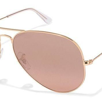 One-nice™ Ray-Ban RB3025 Aviator Large Metal Mirrored Unisex Sunglasses Gold Frame/Crystal