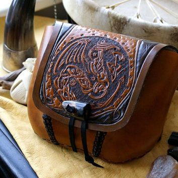 Leather Belt Bag Dragon-Celtic Knot Work Leather Belt Bag-Tooled Leather Belt Bag-Brown Leather Belt Bag- Celtic Dragons Belt Bag-OOAK