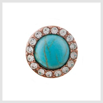 Rose Gold Turquoise Clear Crystals 12mm Mini