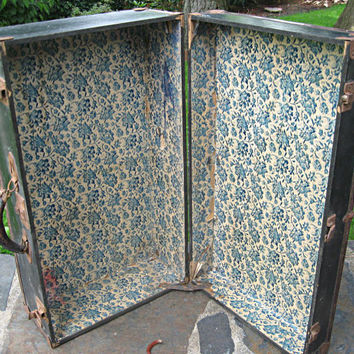 Vintage suitcase/trunk with blue floral by LittleBeachDesigns