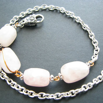 Rose Quartz Necklace Rose Quartz Jewelry Chunky Raw Stone Necklace Pink Stone Necklace Bold Raw Stone Jewelry Bib Gemstone Necklace & Chain