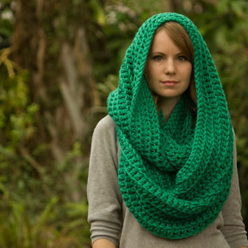 Green Infinity Scarf, Dark Mint, Kelly Green Crochet Oversized Scarf, St Patricks Day