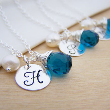 Blue Briolette Personalized Initial Wire Wrapped Freshwater Pearl Sterling Silver Bridesmaid Necklace / Gift for Her
