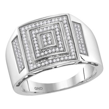 10kt White Gold Mens Round Pave-set Diamond Concentric Square Cluster Ring 1/3 Cttw