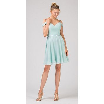 Cold-Shoulder Short Homecoming Dress Mint