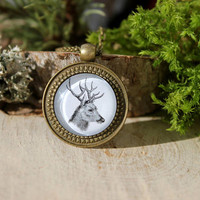 Deer Pendant | Vintage Deer Necklace | Antique Bronze Pendant | Woodland Jewelry | Animal Jewelry