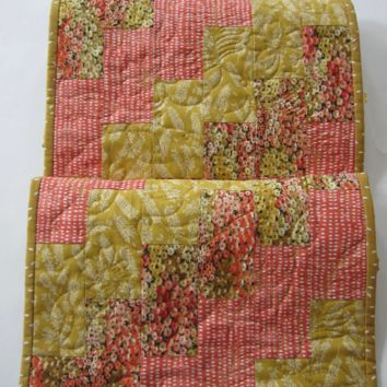 Quilted Table Runner with Coral and Gold