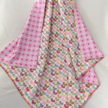 Ornate Hearts Flannel Receiving or Swaddling Blanket, Double Layer, 2 Layer Serged Blanket, New Design, Crib or Stroller Blanket