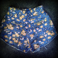 "Vintage High Waisted Floral Studded Cut Off Shorts 25"" Waist"