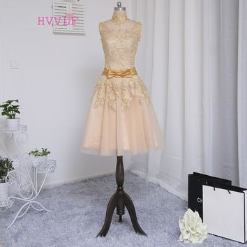 Champagne 2018 Prom Dresses A-line High Collar Cap Sleeves Appliques Lace Ankle Length Prom Gown Evening Dresses Evening Gown