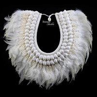 White Jewelry Angel Feather&Shell Necklace Soft Real Feathers Elegance Dreamy Dramatic White Necklace/Home Decor
