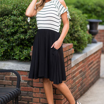 Nautical Notes Dress, Black