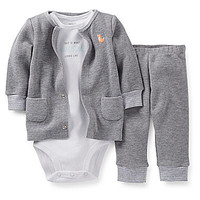 Carter's 3-12 Months 3-Piece Layette Set - Heather Grey
