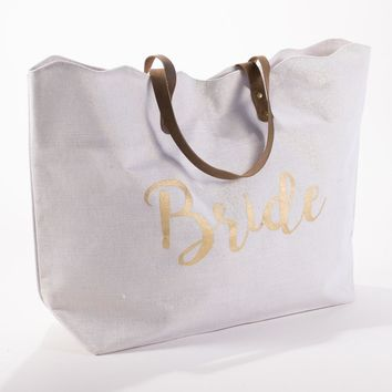 Bride Scallop Shimmer Tote Bag in White/Gold