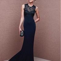 [93.99] Glamorous Lace & Chiffon Jewel Neckline Mermaid Evening Dresses - Dressilyme.com