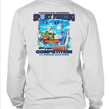 NCAA Florida Gators Big Fish Reel In Competition White Long Sleeve T-Shirt