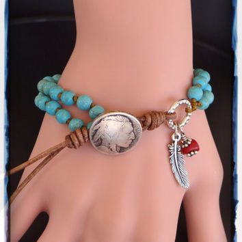 Southwestern Turquoise Leather Wrap Bracelets For Men And Women.