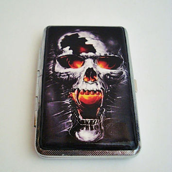 Skull Fire Cigarette Case  100's Hold in the Current 14 pcs 97 mm Terrible Bad Skull Cigarette box, Metal cigarette case, Cigarette holder