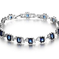 SunIfSnow Beauty Black Blue Square Zircon Rhodium Zirconium Bracelet Dark Blue