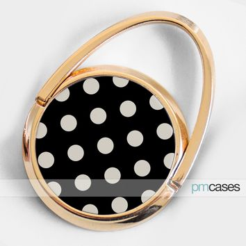 Gold Polka Dots Phone Ring Finger Holder Mount Stand Grips