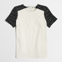 Factory tweed-sleeve top : short sleeve | J.Crew Factory