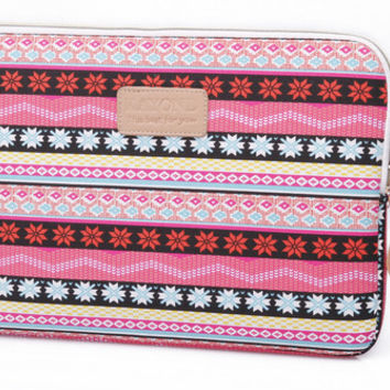 "Pink Ethnic Laptop Air Pro Canvas Fabric Sleeve Case Bag 10"" 11"" 12"" 13"" 14"" 15"" -N0027"