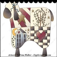 Folk Sheep 1 Clip Art Single : Digi Scrap Kits Trina Walker (Clark), sheep, folk art, saltbox houses, willow trees, primitive, prim