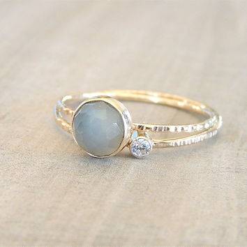 Gold Stack Ring Set, Grey Moonstone Ring, Moissanite Ring, White Gold Ring, Engagement Stack, Stackable Rings, Birthday Gift, Gift under 200
