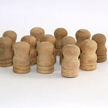 13 Turned Wood Furniture Caps | Furniture Finials Wood Lathed Unfinished 2 Types Flat Top and Rounded Top