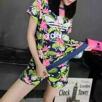"""""""Adidas"""" Fashion Casual Camouflage Clover Letter Print Short Sleeve Shorts Sports Set Two-Piece"""
