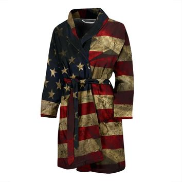 Aged American Flag Mens Bathrobe
