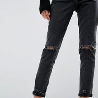 ASOS Farleigh High Waist Slim Mom Jeans In Washed Black with Busted Knees at asos.com