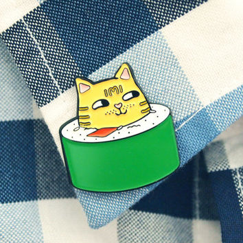 BFF cat enamel pin set, cat sushi roll pin, cat lapel pin, cat butt, kawaii cat pin, sushi pin, cute cat pin, cat enamel pin, enamel pin