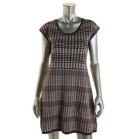 Pink Rose Womens Knit Checkered Sweaterdress