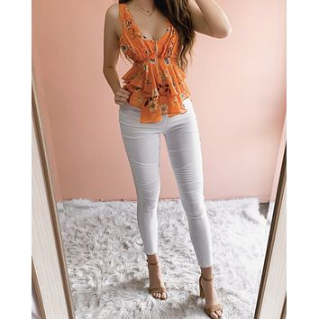 RESTOCKED! MALIBU NIGHTS FLORAL TOP (TANGERINE)