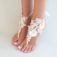 Beach wedding barefoot sandals ivory blush flowers wedding shoes beach shoes bridal accessories bangle beach anklets bride bridesmaids gift
