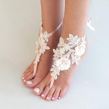 021870cc8568 Beach wedding barefoot sandals ivory blush flowers wedding shoes beach  shoes bridal accessories bangle beach anklets