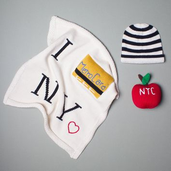 Organic Cotton Baby Gift Set - Metrocard Blanket, NYC Apple Rattle & Hat