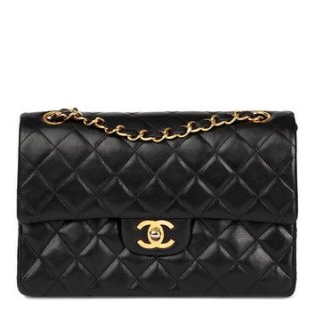 CHANEL BLACK QUILTED LAMBSKIN VINTAGE SMALL CLASSIC DOUBLE FLAP BAG HB1041