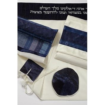 Fancy Navy Light Blue Wool Tallit