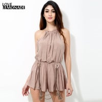 Women's Nude Toned  Sleeveless Romper with Tassels
