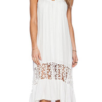 White Strappy Pleated Short Front Mid Dress with Crochet Lace Accent