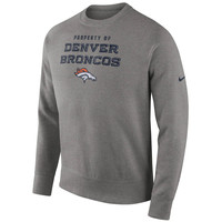 Men's Denver Broncos Nike Gray Stadium Classic Club Crew Sweatshirt