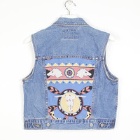Vintage Upcycled Levis Denim Jacket Blue Jean Vest Southwestern Scarf Patchwork Cow Skull Horse Dreamcatcher 1990s Custom Crop Top M Medium