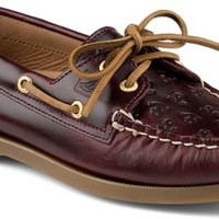 Sperry Top-Sider Authentic Original Anchor Embossed 2-Eye Boat Shoe CordovanEmbossedAnchor, Size 6.5M  Women's Shoes