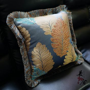 Luxury Flannelet Leaves Embroidery Customize Pillow Case Wedding Sofa Chair Bedding Hotel Decorative Cushion Cover Pillowslip